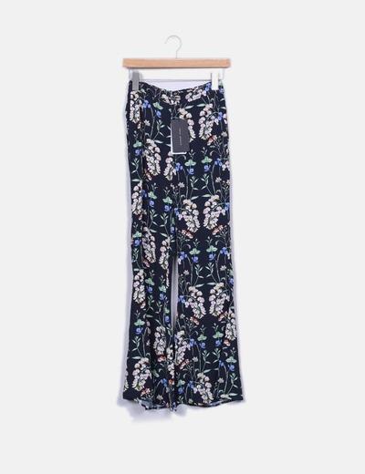 Pantalons bleu marine palazzo floraux Zara