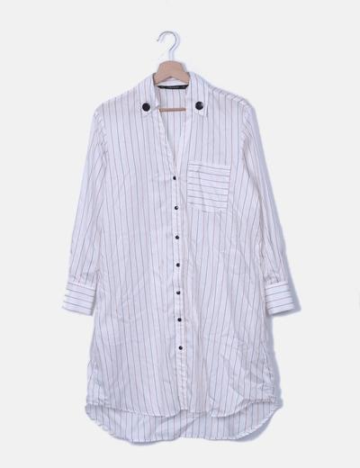 Vestido camisero blanco de rayas
