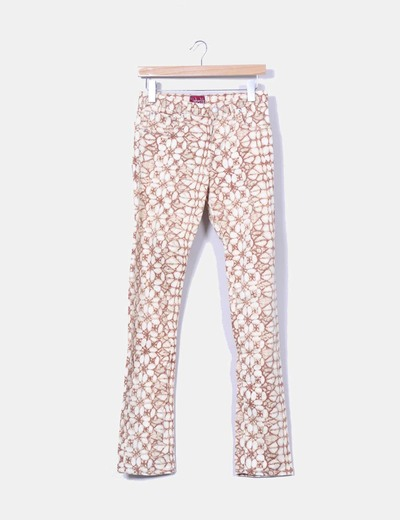 Pantalon estampado en tonos beiges