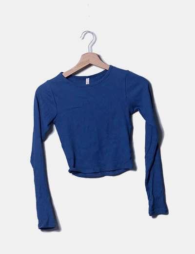 Top tricot azul manga larga