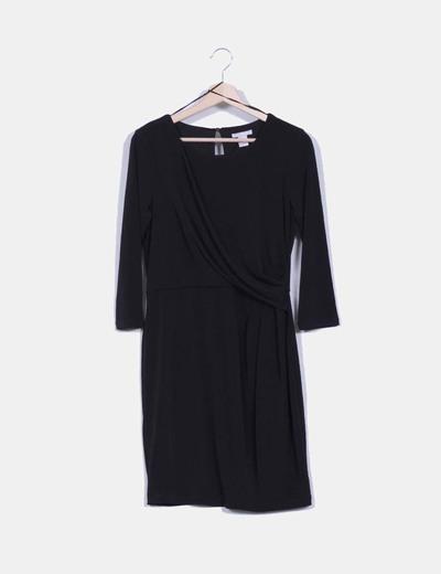 Vestido con caída manga larga fruncido lateral H&M