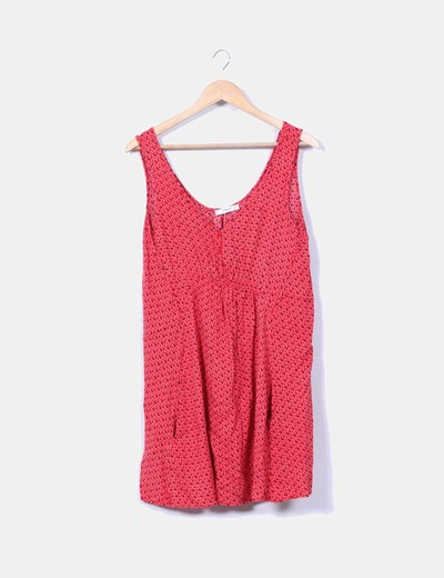 Vestido rojo estampadi Mango