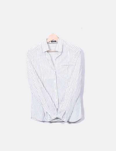Camisa blanca rayas beige