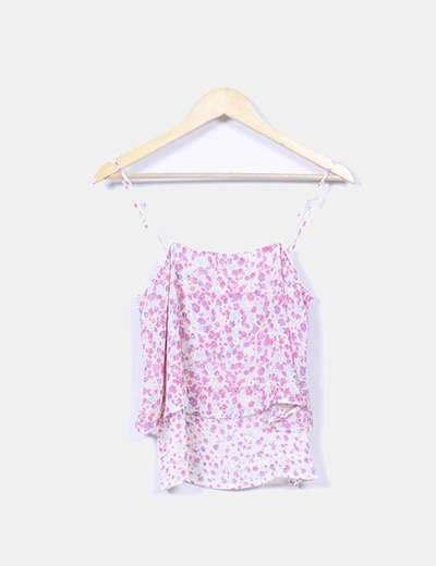Blusa floral doble capa Bershka