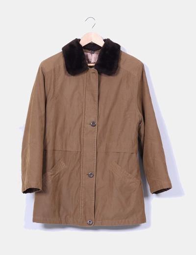 Abrigo marrón acolchado con pelo  Mac Clow`s