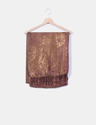 Foulard marron estampado