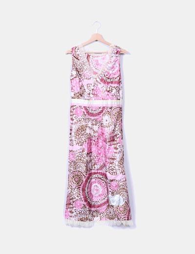 Maxi vestido rosa y verde estampado  LYSGAARD