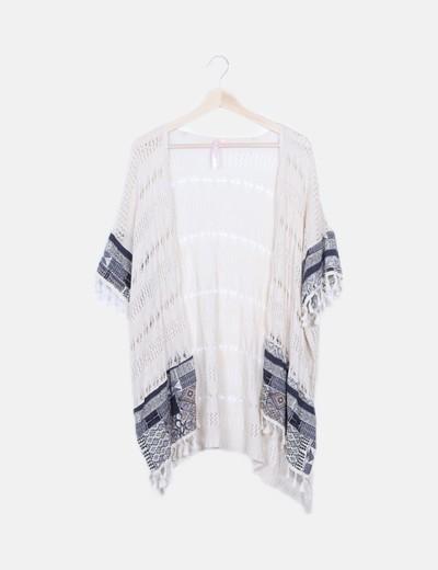 Kimono de punto combinado