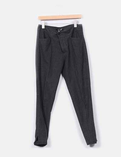 Pantalón gris oscuro de paño Zara