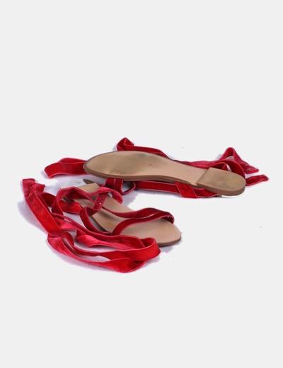 Sandalias pala lace up terciopelo rojo