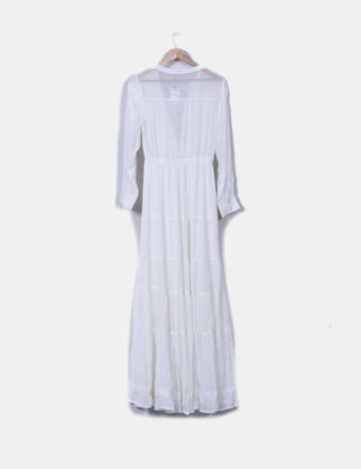 Maxi vestido crudo manga larga