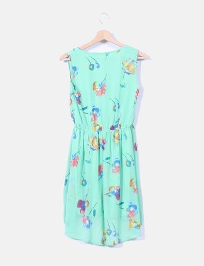 Vestido gasa tail hem verde estampado floral
