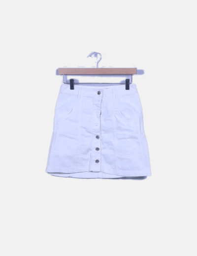 Falda mini denim blanca abotonada