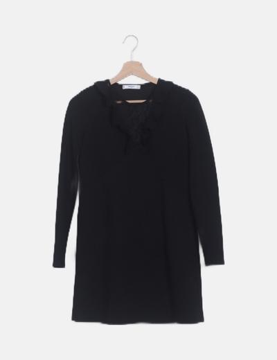 Vestido midi negro escote crochet