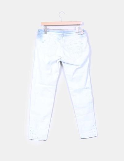 Pantalon denim claro troquelado