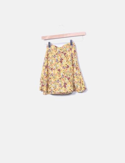 Falda cruzada floral amarilla