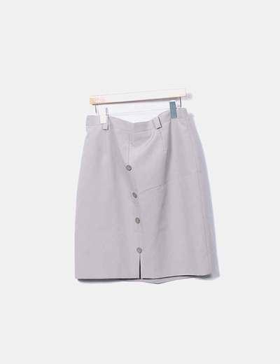Falda gris con botones
