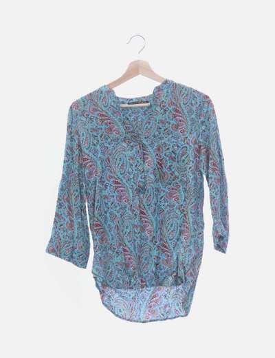Blusa manga francesa estampado multicolor