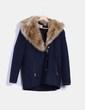 Abrigo azul combinado con pelo Zara