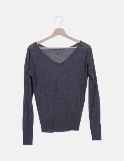 Jersey tricot azul detalles glitter