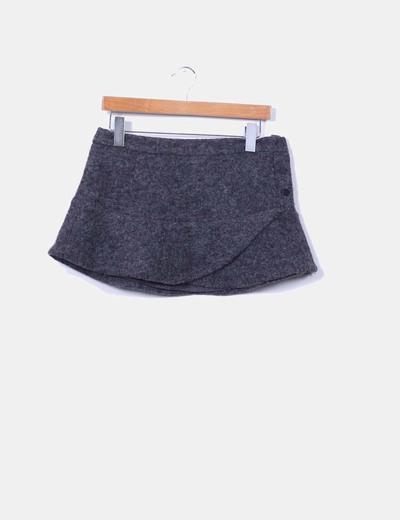 Mini falda gris de lana Mango