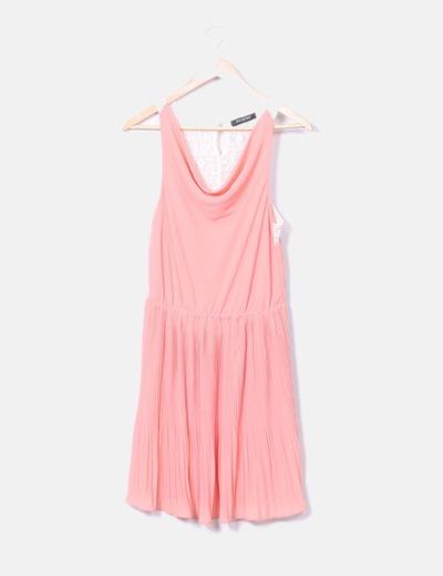 Vestio rosa con espalda de encaje Taleyo