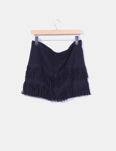 Minifalda negra con flecos