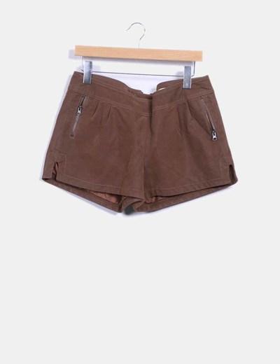 Short polipiel marrón Lavand.
