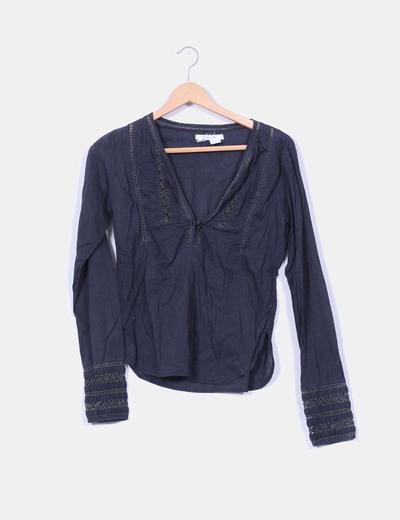 Blusa gris marengo con encaje  Zara