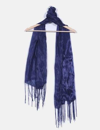Pañuelo semitransparente azul marino satinado con detalle flecos NoName