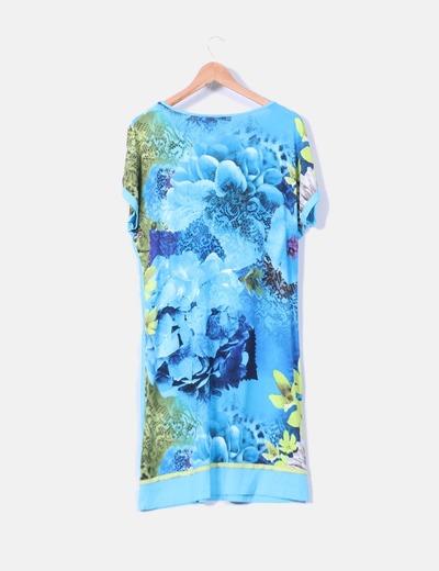 Vestido azul de licra estampado con strass