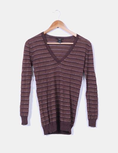Jersey marrón con brillo Mango