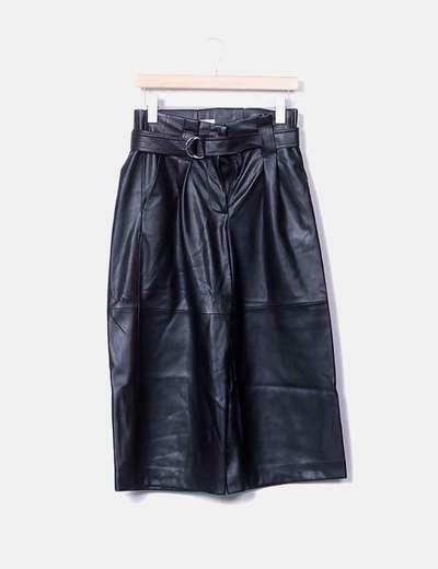 Pantalon noir culotte similicuir Mango