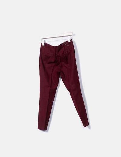 pantalon zara burdeos