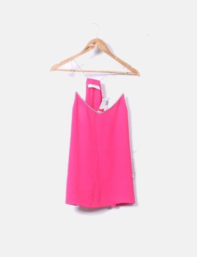 Blusa fluida de tirantes rosa