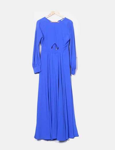 Vestido maxi azul klein fluido con abertura Asos