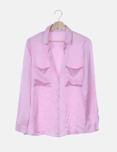 Camisa rosa satinada