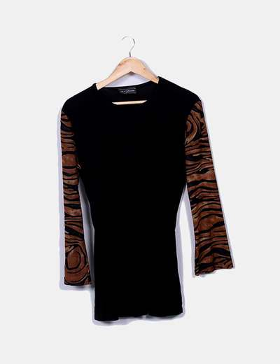 Black tee shirt animal print Just D´Orange