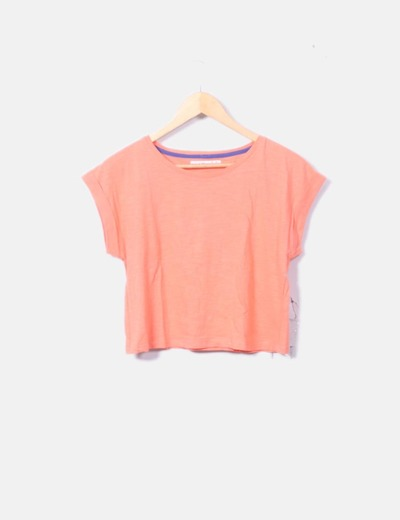 Camiseta naranja crop