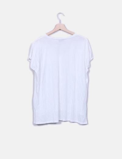 Camiseta blanca bolsillo estampado