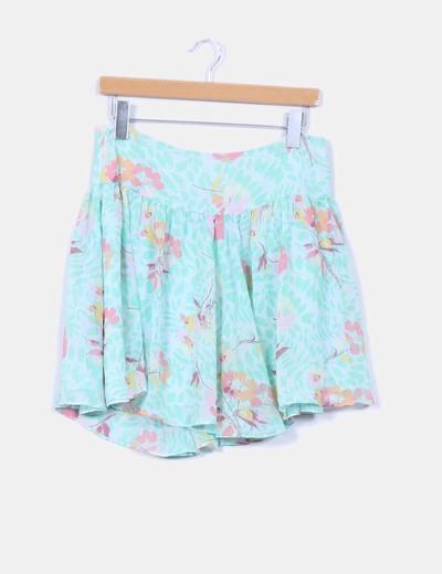 Mini falda gasa verde floral GAP