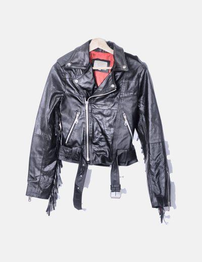 Cazadora biker cuero negro con flecos