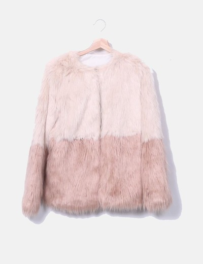 Chaqueta pelo sintético rosa