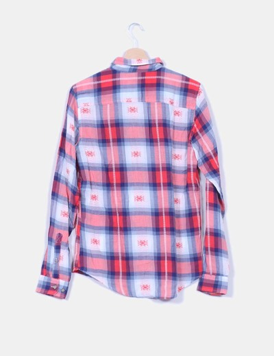 Camisa cuadros rosas blancos y azules