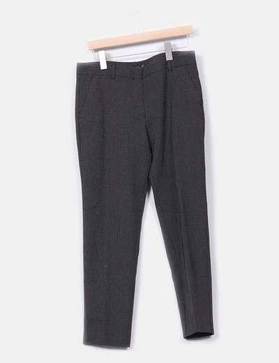Pantalón negro con topos Zara