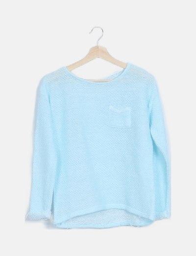 Jersey azul claro punto calado manga larga