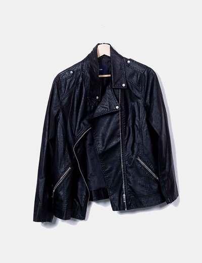 Cazadora biker polipiel negro