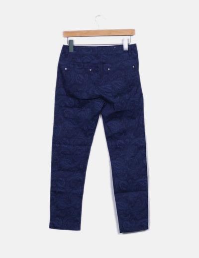 Pantalon recto azul marino estampado