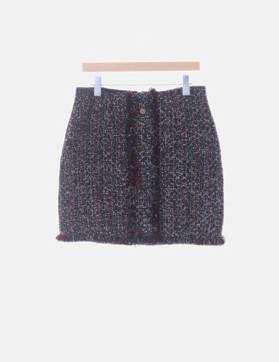 Falda midi tricot negro jaspeado