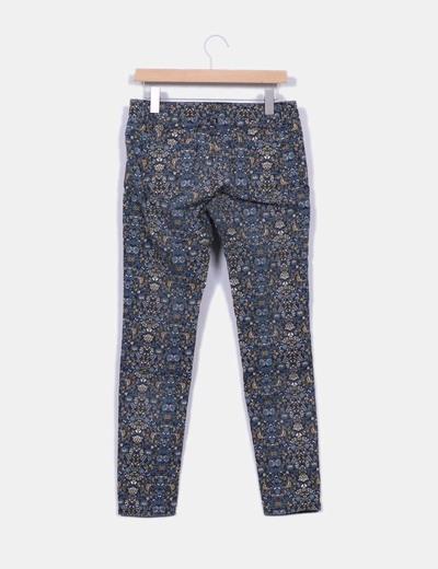 Pantalon pitillo estampado multicolor